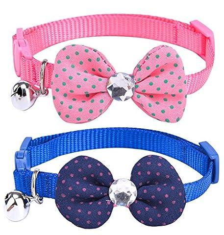 pupteck 2pcs/lot Étui souple en nylon réglable collier pour chat de Kitty chiot pour chien Nœud Papillon Fleur Collier avec Bell
