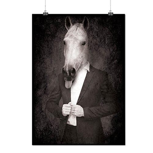 Pferd Anzug Krawatte Cool Komisch Pferd Gesicht Mattes/Glänzende Plakat A3 (42cm x 30cm) | (Anzug Cyclops)