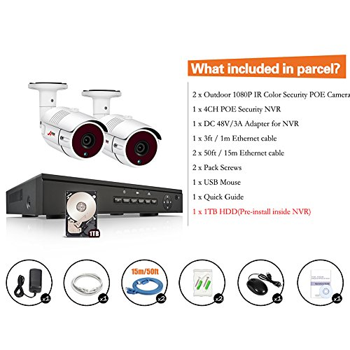 IP Camera Security System 1080P, 4 Channel 1080P IP PoE NVR Pre-Installed 1TB HDD and 2x1080P 2MP Bullet Surveillance Camera Kit SWINWAY & Anran