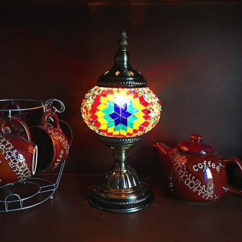 Marokkanische Tischlampen, Vintage türkische Tischlampen mit Buntglasschirm Retro Lampe für Nachttisch Wohnzimmer Schlafzimmer Flur Ecke Esszimmer (Traditionellen Nachttisch)