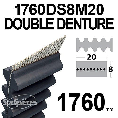 Courroie 20 mm x 1760 mm 1760DS8M20 pour Castel Garden MTD Murray Toro Double denture