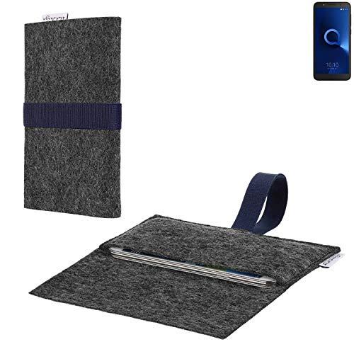 flat.design vegane Handy Hülle Aveiro für Alcatel 1C Single SIM passgenaue Filz Tasche Case Sleeve Made in Germany