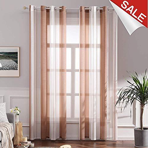 MIULEE Voile Vorhang Transparente Gardine aus Voile mit Ösen Schlaufenschal Ösenschals Transparent Fensterschal Wohnzimmer Schlafzimmer 2er Set 140 * 145 cm Weiß + Orange