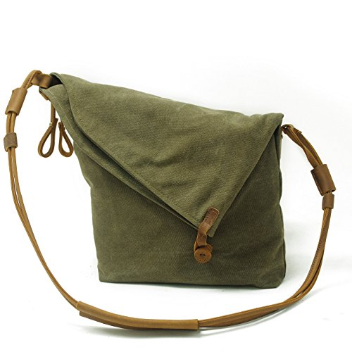 FAIRY COUPLE Unisex Canvas bag retro literary college style shoulder bag Messenger bag Korean version of C5069 (khaki) verde