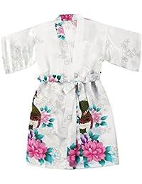 Fille Satin Peacock et Kimono Robe Fleurs pour Anniversaire de Mariage de Spa