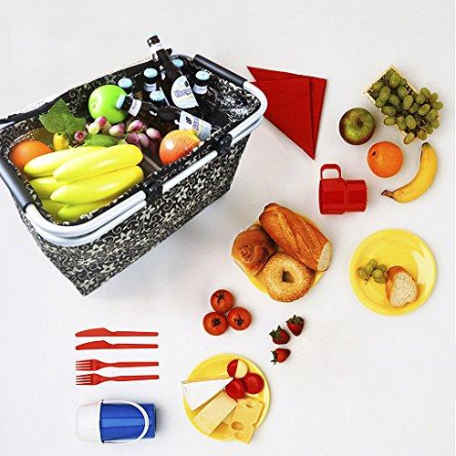 YJZQ Panier à Lunch isolée Pliante Cabas pour Courses Sac de Voyage Pliage Sac Oxford Portable Panier à Provision Classeur d'alimentation pour Organiser Fruite Boisson