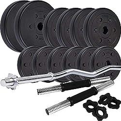 ScSPORTS® 35,5 kg Hantelset Kunststoff mit 1x SZ Curlstange und 2X Kurzhanteln mit Gewinde, 12 Hantelscheiben Gewichte