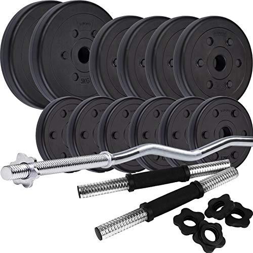 ScSPORTS® 35,5 kg Hantelset Kunststoff mit 1x SZ Curlstange und 2X Kurzhanteln mit Gewinde, 12 Hantelscheiben Gewichte Kurze-set