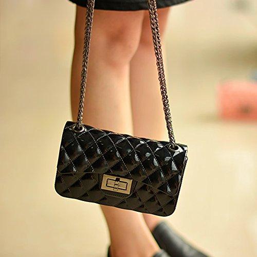 Young & Ming - Mini Jelly diamante Borse Donna Borse a tracolla Shoulder Bag con catena metallica Fashion Handbag Nero
