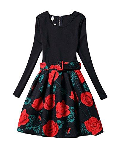 Damen Einfarbig Elegant Kleid Drucken Lange Ärmel Dünne Taille A-line Kleid Picture 1