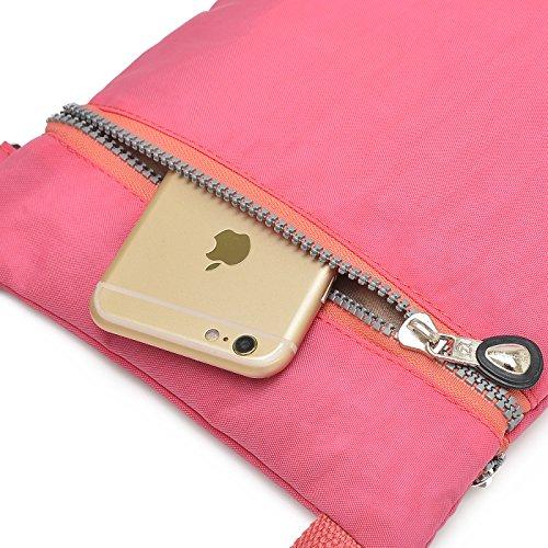 Supamodern tracolla in nylon impermeabile per donne a tracolla iPad bag Phone bag leggero sacchetto esterno al giorno per donne, donna, Purple Red, S Rose