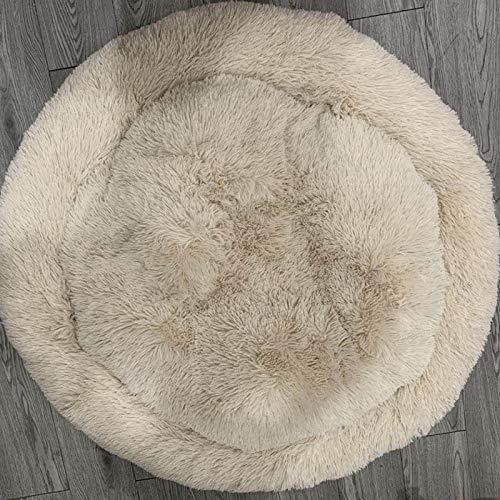 Xy Exquisite Warm Fleece Hundebett 4 Größen Runde Pet Lounger Tyteps Kissen for mittelgroße Hunde & Katzen Winter Hundehütte Puppy Mat Ped Bett (Color : Beige, Size : Diameter 100cm) -