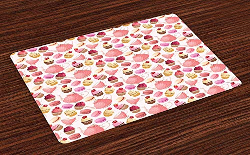 ZZHOO Retro Place Mats Set of 4,Teaparty with Cupcakes Macarons Teapot and Cups Cherries Berries Polka Dots,Washable Fabric Placemats for Dining Room Kitchen Table Decor,Pink Cream Brown Butterfly Cupcake Pan