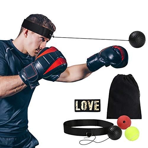 flintronic Boxing Reflex Ball, Palla da Allenamento Boxe, Attrezzatura da Boxe, per Migliorare le Reazioni (Include 1 * Fascia per Capelli Sportiva, 3 * Palle Allenamento)