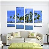 4 Panneaux d'arbres sur l'île Peinture Toile Mur Art Photo Décoration Décoration Salon Imprimer Sur Toile art moderne-40x80cmx2 40x100cmx2...