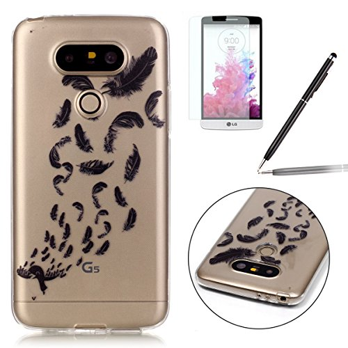 Felfy-LG-G5-CoqueLG-G5-Bling-Case-Ultra-Slim-Silicone-Etui-Souple-Coque-Etui-Clair-Silicone-Case-Transparent-TPU-Briller-Cristal-Glitter-Transparent-Ultra-Thin-Rubber-Cover-Clair-Bumper-Case-Cover-Coq