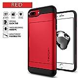 Spigen 043CS21730 Slim Armor CS für iPhone 8 Plus / 7 Plus Hülle, 2-teilige Kartenfach TPU Schicht PC Rückschale Schutzhülle Case Rot