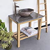 wohnfreuden Waschtisch aus Teak-Holz ✓ 75 cm hoch ✓ geschliffene Oberfläche ✓ ideal für Naturstein Aufsatzbecken ✓ Waschbecken Untergestell für WC Bad