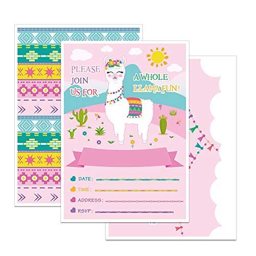 WERNNSAI Rosa Lama Theme Mädchen Party Einladungen mit Umschlägen - 20 Set Doppelseitige Große 12.5 cm x 18 cm Geburtstag Baby Shower Einladungskarten for Girls