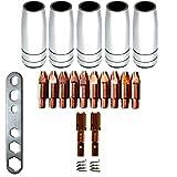 Verschleissteile Set MB25 1,0mm Ersatzzeile Verschleißteileset 5 Gasdüsen, 10 Stromdüsen, 2 Düsenstock, 2 Feder Montageschlüssel MAG MIA