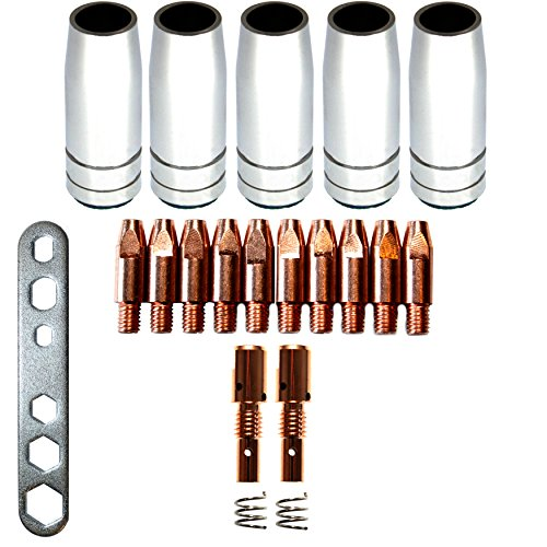 Verschleissteile Set MB25 0,8mm Ersatzzeile Verschleißteileset 5 Gasdüsen, 10 Stromdüsen, 2 Düsenstock, 2 Feder Montageschlüssel MAG MIA (Feder-brenner)