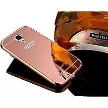 para Carcasas Galaxy S4 Fundas - Sunnycase® Premium PC Bumper Para Samsung Galaxy S4 I9500 Funda Aluminio carcasa Rosa Metal Mirror Bumper phone Frame case dura cubierta alta calidad Protección Parachoques Cover Marco Tapa + espejo espalda