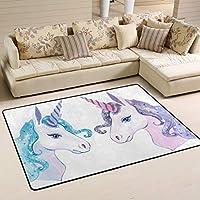 JSTEL Washable Soft Christmas Unicorn Area Rugs 90 x 60 cm (2 x 3 Feet) Living Room Carpet Comfy Bedroom Runner Rugs Mat