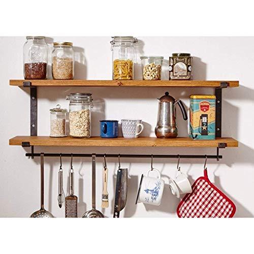 2 Ebenen Küche Wand Lagerregal, Wand Gewürzregal mit Haken, Retro dekorative Regal Wand Aufbewahrungsbrett Bücherregal, Eisen und Holz Regal (Farbe: 60 * 20 * 40 cm) -