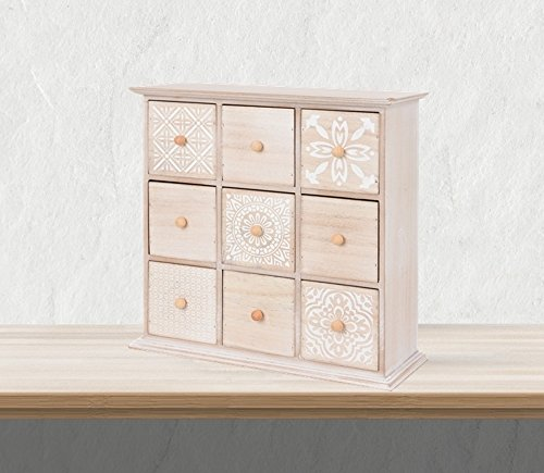 Mini Kommode aus Holz mit 9 Schubladen Schubladenschrank Aufbewahrungsschrank Schmuckschrank Shabby Chic Landhaus Design