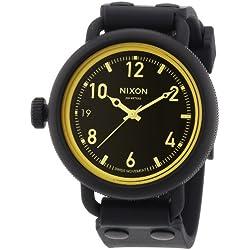 Nixon The October Matte Black/Orange Tint A4881354-00 - Reloj analógico de cuarzo unisex, correa de goma color negro (agujas luminiscentes)