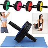 TNP Accessories Double Abdominal Exercise Roller Wheel Ab Wheel With Knee Mat Pad Top Quality Rollers Abs Roller