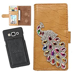 DooDa PU Leather Wallet Flip Case Cover With Rhinestone Peacock in Front And Card & ID Slots For Karbonn A25 +