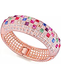 NEVI Crystals from Swarovski Rose Gold Plated Kadaa Bangle Bracelet Jewellery for Women and Girls (Multi Colour)