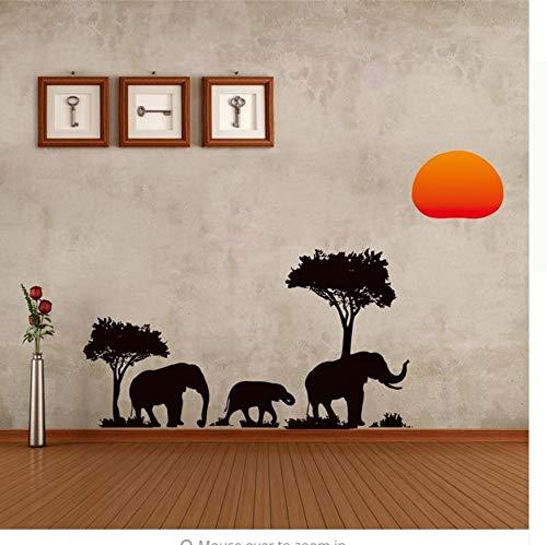 Árbol Elefantes Amanecer Pegatinas de Pared Sala de estar Decoración Safari Diy...