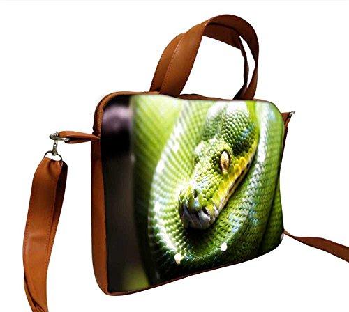 Snoogg grün Schlange Designer, 30,5cm Zoll auf 31,8cm Zoll zu 32cm Zoll Kunstleder Laptop Notebook Schuber Sleeve, der Fall mit und Schultergurt für MacBook Pro Acer Asus Dell HP Sony Toshiba (Grüne Designer-tasche Wildleder)