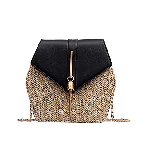Calvinbi Taschen Damen Vintage Fransen gewebt Diamond Stitching Woven Schultertasche Bucket Bag Metallic-uniform