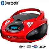 Lauson CD-Player Bluetooth | Tragbares Stereo Radio | USB | CD-MP3 Player für kinder | Stereo Radio | Stereoanlage | Kopfhöreranschluss | AUX IN | LCD-Display | Batterie sowie Strombetrieb | CP639 (Rot)