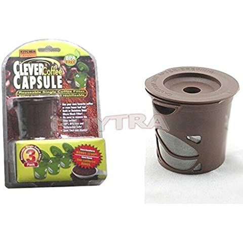 happu-store New 3 Clever Coffee Capsule Reusable Filter + Scoop for Keurig Brewing System by happu-store