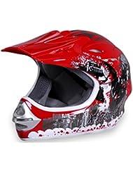 Motorradhelm X-treme Kinder Cross Helme Sturzhelm Schutzhelm Helm für Motorrad Kinderquad und Crossbike Modell in rot