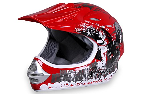 Motorradhelm X-treme Kinder Cross Helme Sturzhelm Schutzhelm Helm für Motorrad Kinderquad und Crossbike Modell in rot (XX-Large)