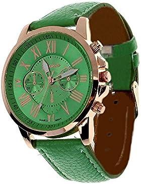 Fortan 2016 Frauen Kunstleder analoge Quarz-Armbanduhr- grün
