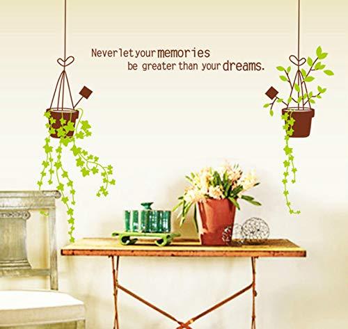 Dalxsh 50X70Cm Korb Blume Aufkleber Wohnzimmer Schlafzimmer Dekoration Grüne Pflanzen Können Die Dekorativen Wandaufkleber Entfernen
