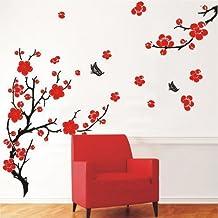 Flor de cerezo con flores y mariposas pegatinas de pared en casa/habitación decoraciones de tela decorativa adhesiva adhesivos