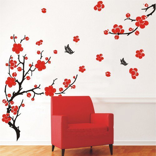 Stylish Cherry Plum Blossom Flowers U0026 Butterflies Wall Stickers Home/Room  Decors Mural Art Decals Adhesive Decorative: Amazon.co.uk: Kitchen U0026 Home Part 66