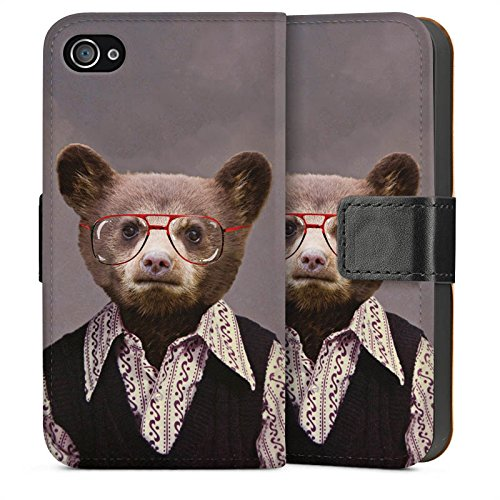 Apple iPhone 4 Housse Étui Silicone Coque Protection Benji Bear Ours Ours Sideflip Sac
