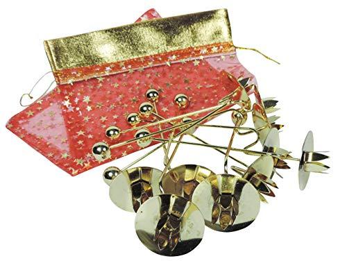 10 goldfarbene Balance-Kerzenhalter/Christbaumkerzenhalter für den Weihnachtsbaum - inkl. Geschenkbeutel