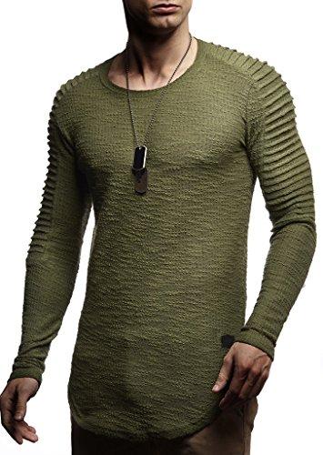 Leif Nelson Herren Pullover Rundhals-Ausschnitt Schwarzer Männer Longsleeve dünner Pulli Sweatshirt Langarmshirt Crew Neck Jungen Hoodie T-Shirt Langarm Oversize LN8192 Khaki Medium -