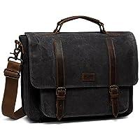 Messenger Bag for Men, Kasgo Waterproof Waxed Canvas Genuine Leather Briefcase Fits 15.6 inch Laptop Vintage Business Satchel Shoulder Bag with Removable Strap Drak Gray