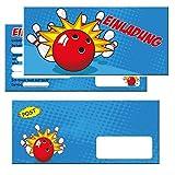 Unbekannt Bowling Einladungskarten mit Umschlägen im Günstigen Set 12 Stück - Zum Kindergeburtstag Party Feier Kegeln Kinder Geburtstag Einladungen Karten Jungen Mädchen