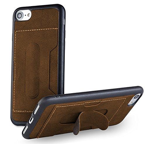 MyGadget Flip Case Hülle für Apple iPhone 7 mit Kartenfach und Standfunktion Klapphülle aus Kunstleder (PU) Schutzhülle Wallet Book Cover - Schwarz Kunstleder Braun
